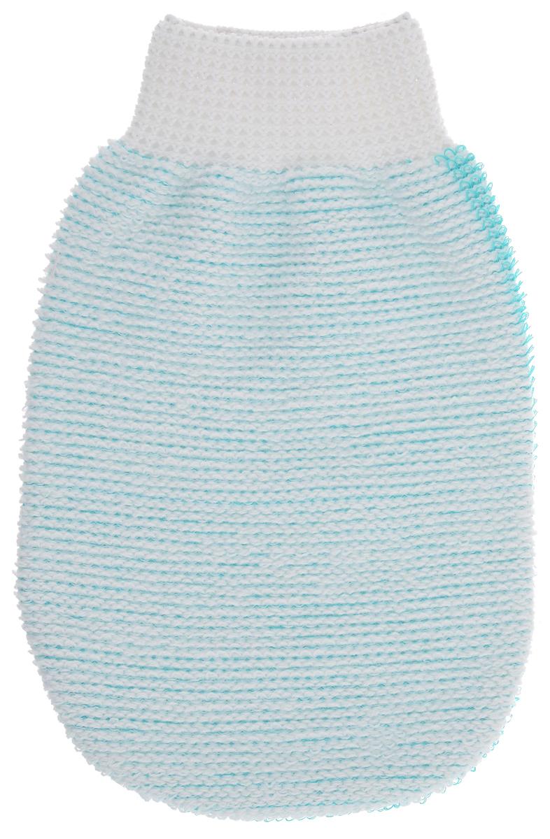 Riffi Мочалка-рукавица массажная, двухсторонняя, цвет: белый, зеленый. 407