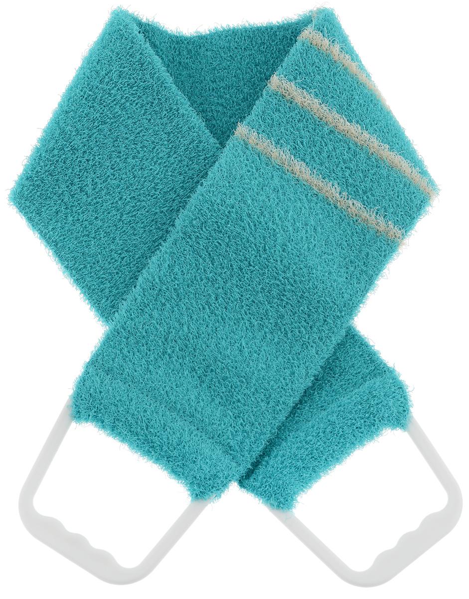 Riffi Мочалка-пояс, массажная, жесткая, цвет: бирюзовый. 824824_бирюзовыйМочалка-пояс Riffi используется для мытья тела, обладает активным пилинговым действием, тонизируя, массируя и эффективно очищая вашу кожу. Хлопковая основа придает мочалке высокие моющие свойства, а примесь жестких синтетических волокон усиливает ее массажное воздействие на кожу. Для удобства применения пояс снабжен двумя пластиковыми ручками.Благодаря отшелушивающему эффекту мочалки-пояса, кожа освобождается от отмерших клеток, становится гладкой, упругой и свежей. Массаж тела с применением Riffi стимулирует кровообращение, активирует кровоснабжение, способствует обмену веществ, что в свою очередь позволяет себя чувствовать бодрым и отдохнувшим после принятия душа или ванны. Riffi регенерирует кожу, делает ее приятно нежной, мягкой и лучше готовой к принятию косметических средств. Приносит приятное расслабление всему организму. Борется со спазмами и болями в мышцах, предупреждает образование целлюлита и обеспечивает омолаживающий эффект. Моет легко и энергично. Быстро сохнет. Гипоаллергенная.Товар сертифицирован.