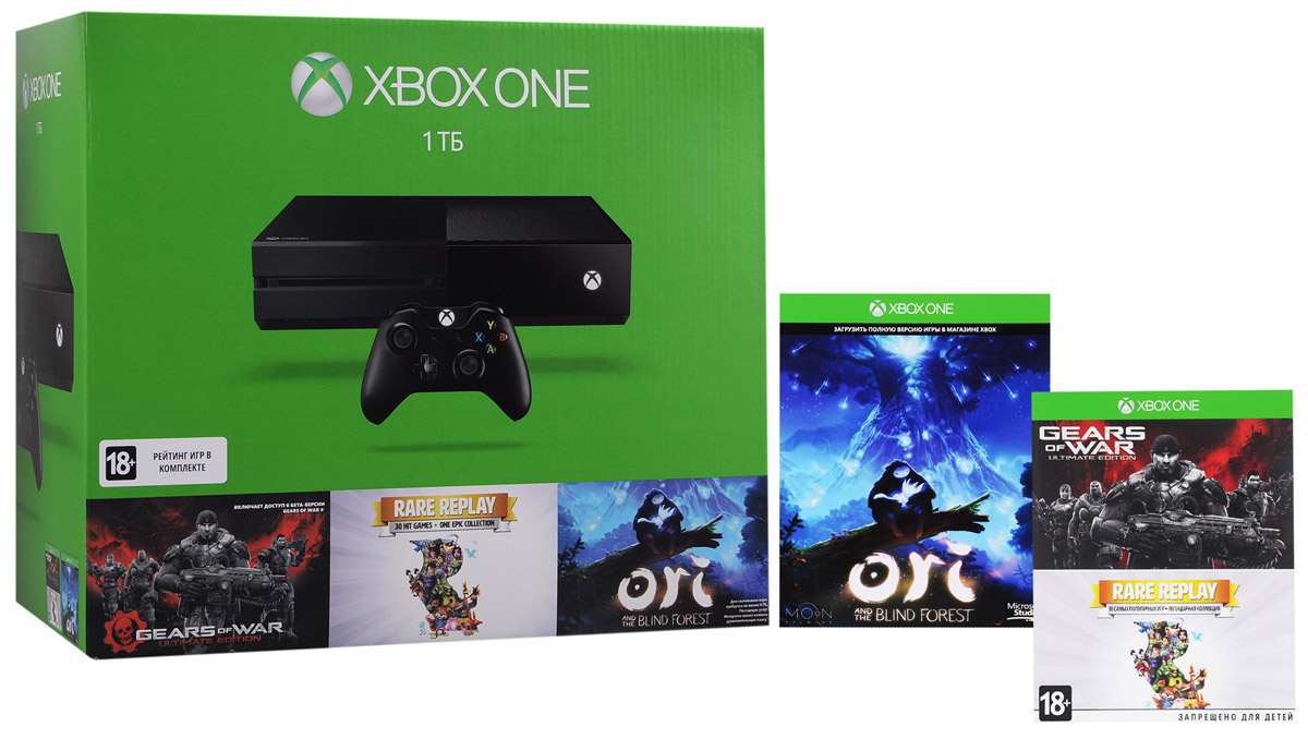Игровая приставка Xbox One 1 ТБ + Rare Replay + Ori + Gears of War видеоигра для xbox one overwatch origins edition