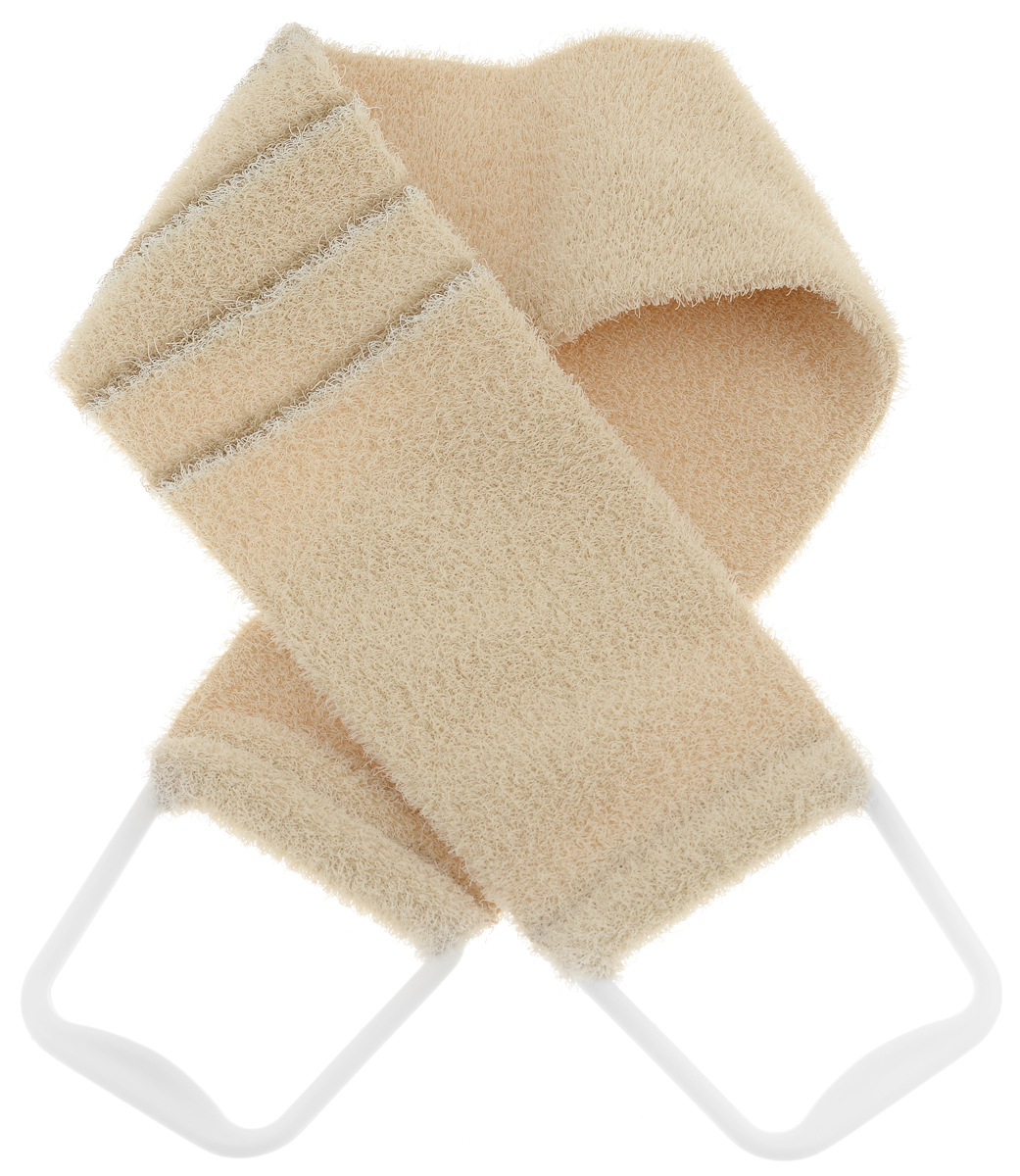 Riffi Мочалка-пояс, массажная, жесткая, цвет: бежевый. 824824_бежевыйМочалка-пояс Riffi используется для мытья тела, обладает активным пилинговым действием, тонизируя, массируя и эффективно очищая вашу кожу. Хлопковая основа придает мочалке высокие моющие свойства, а примесь жестких синтетических волокон усиливает ее массажное воздействие на кожу. Для удобства применения пояс снабжен двумя пластиковыми ручками.Благодаря отшелушивающему эффекту мочалки-пояса, кожа освобождается от отмерших клеток, становится гладкой, упругой и свежей. Массаж тела с применением Riffi стимулирует кровообращение, активирует кровоснабжение, способствует обмену веществ, что в свою очередь позволяет себя чувствовать бодрым и отдохнувшим после принятия душа или ванны. Riffi регенерирует кожу, делает ее приятно нежной, мягкой и лучше готовой к принятию косметических средств. Приносит приятное расслабление всему организму. Борется со спазмами и болями в мышцах, предупреждает образование целлюлита и обеспечивает омолаживающий эффект. Моет легко и энергично. Быстро сохнет. Гипоаллергенная.Товар сертифицирован.