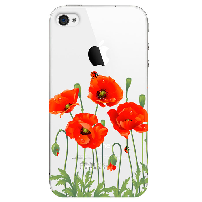 Deppa Art Case чехол для Apple iPhone 4/4s, Flowers (мак) silk style protective pu leather plastic case for iphone 4 4s silver