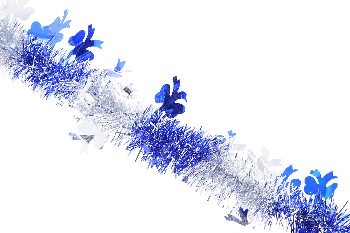 Мишура новогодняя Sima-land, цвет: серебристый, синий, диаметр 5 см, длина 200 см. 702605702605_синийМишура новогодняя Sima-land, выполненная из двухцветной фольги, поможет вам украсить свой дом к предстоящим праздникам. Мишура армирована, то есть имеет проволоку внутри и способна сохранять приданную ей форму.Новогодняя елка с таким украшением станет еще наряднее. Новогодней мишурой можно украсить все, что угодно - елку, квартиру, дачу, офис - как внутри, так и снаружи. Можно сложить новогодние поздравления, буквы и цифры, мишурой можно украсить и дополнить гирлянды, можно выделить дверные колонны, оплести дверные проемы. Коллекция декоративных украшений из серии Зимнее волшебство принесет в ваш дом ни с чем несравнимое ощущение праздника! Создайте в своем доме атмосферу тепла, веселья и радости, украшая его всей семьей.