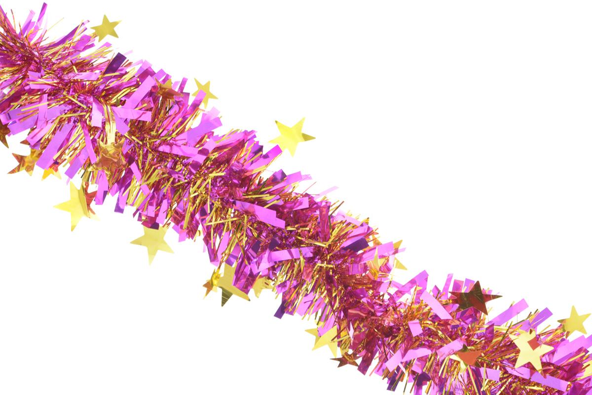 Мишура новогодняя Sima-land, цвет: золотистый, сиреневый, диаметр 9 см, длина 200 см. 706595 мишура новогодняя euro house цвет сиреневый диаметр 8 см длина 200 см