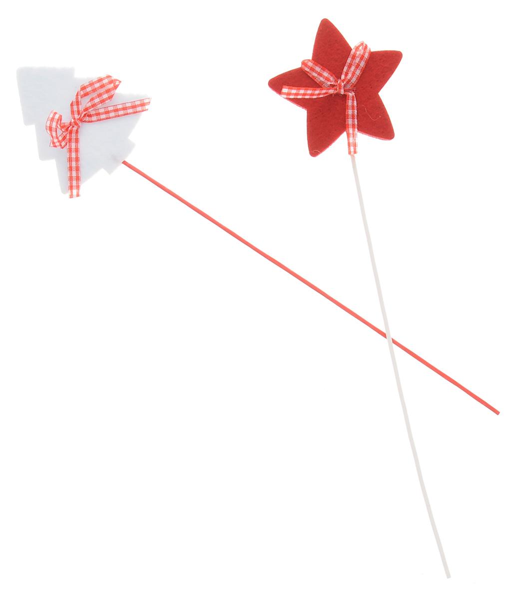 Набор декоративных украшений на палочке Lunten Ranta Войлочный праздник, цвет: белый, красный, длина 28 см, 2 шт набор декоративных наклеек lunten ranta новогодние мотивы 34 шт
