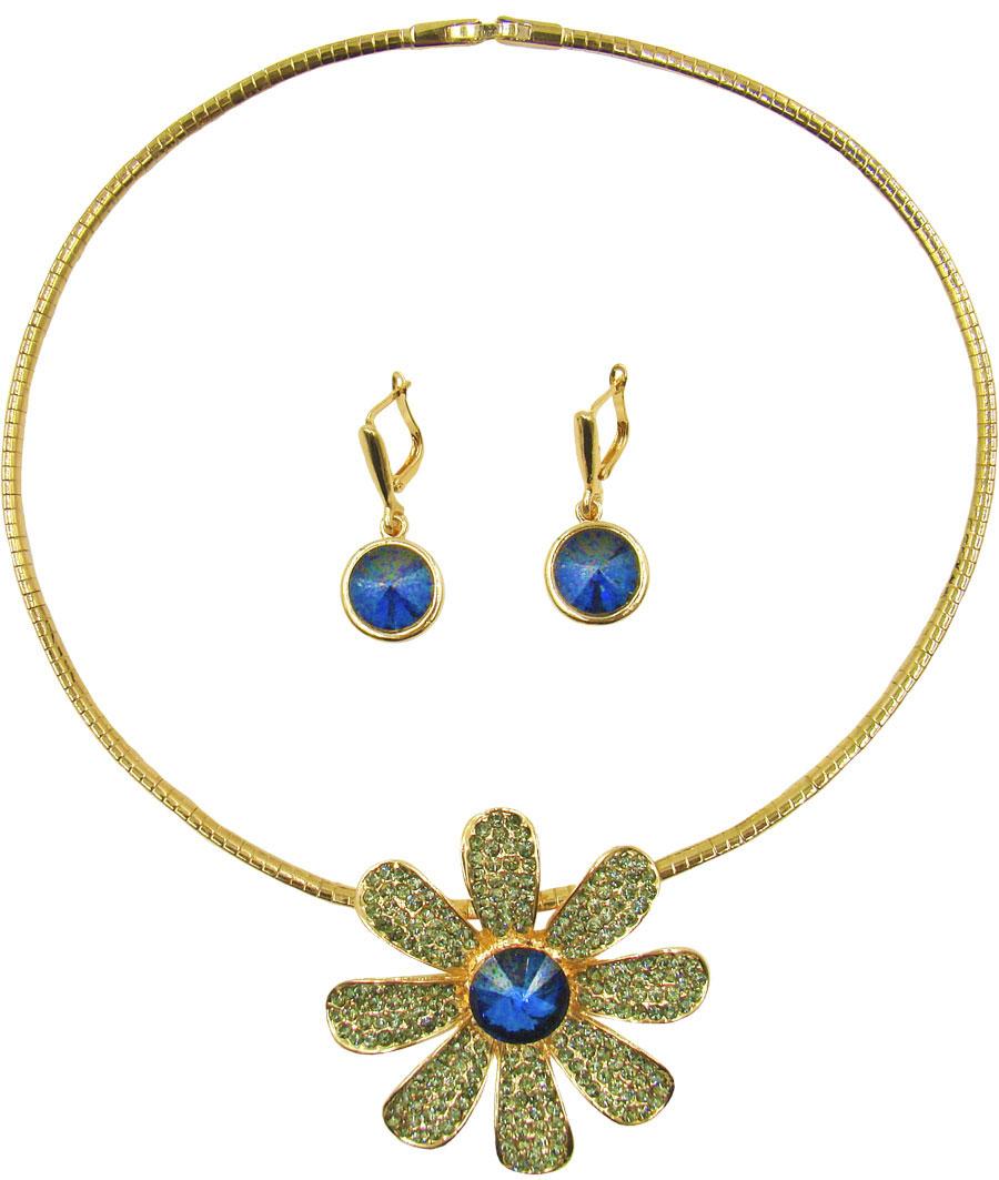 Комплект украшений Taya: серьги, колье, цвет: золотистый, синий, серый. T-B-9602