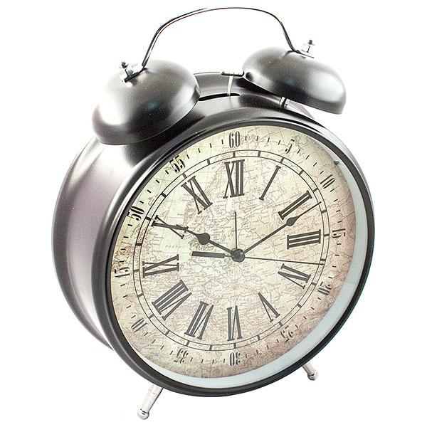 Часы-будильник Эврика Гигант, цвет: черный96597Оригинальные часы-будильник Эврика Гигант органично впишутся в интерьер комнаты. Корпус часов выполнен из окрашенного металла, циферблат защищен стеклом и украшен изображением старинной карты. Задняя панель закрыта пластиком черного цвета. Часы-будильник на двух устойчивых ножках, на задней панели имеется поворотный рычажок для выставления времени и поворотный рычажок для того, чтобы завести будильник на нужное время. Также на задней стороне будильника имеется специальное отверстие, для подвешивания его на стене. Часы-будильник оснащены 4 стрелками: часовой, минутной, секундной и стрелкой будильника. Механизм хода - обычный, тикающий. Будьте абсолютно уверены в том, что с таким будильником вам точно не удастся снова уснуть! Теперь вы сможете просыпаться утром под звуки стильного классического будильника Гигант.Будильник работает от трех пальчиковых батареек типа АА. Диаметр циферблата 21 см.
