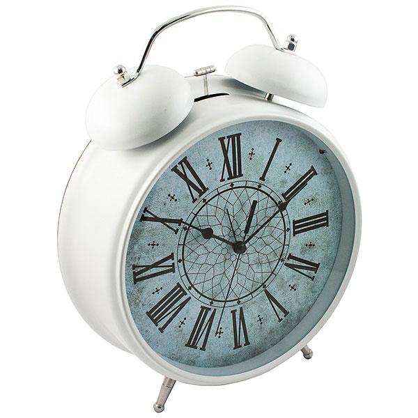 Часы-будильник Эврика Гигант, цвет: белый96599Оригинальные часы-будильник Эврика Гигант органично впишутся в интерьер комнаты. Корпус часов выполнениз окрашенного металла, циферблат защищен стеклом. Задняя панель закрыта пластиком черного цвета. Часы- будильник на двух устойчивых ножках, на задней панели имеется поворотный рычажок для выставления времении поворотный рычажок для того, чтобы завести будильник на нужное время. Также на задней стороне будильникаимеется специальное отверстие, для подвешивания его на стене. Часы-будильник оснащены 4 стрелками: часовой,минутной, секундной и стрелкой будильника. Механизм хода - обычный, тикающий. Будьте абсолютно уверены в том, что с таким будильником вам точно не удастся снова уснуть! Теперь вы сможетепросыпаться утром под звуки стильного классического будильника Гигант. Будильник работает от трех пальчиковых батареек типа АА. Диаметр циферблата 21 см.