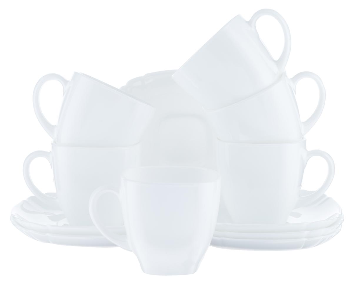 """Чайный набор Luminarc """"Lotusia"""" состоит из шести чашек и шести блюдец. Предметы набора изготовлены из  высококачественного стекла.  Чайный набор яркого и в тоже время лаконичного дизайна украсит интерьер кухни и сделает ежедневное  чаепитие настоящим праздником. Объем чашек: 220 мл. Диаметр чашек по верхнему краю: 8 см. Высота чашек: 7,2 см. Размер блюдец: 13,7 см х 12,2 см."""