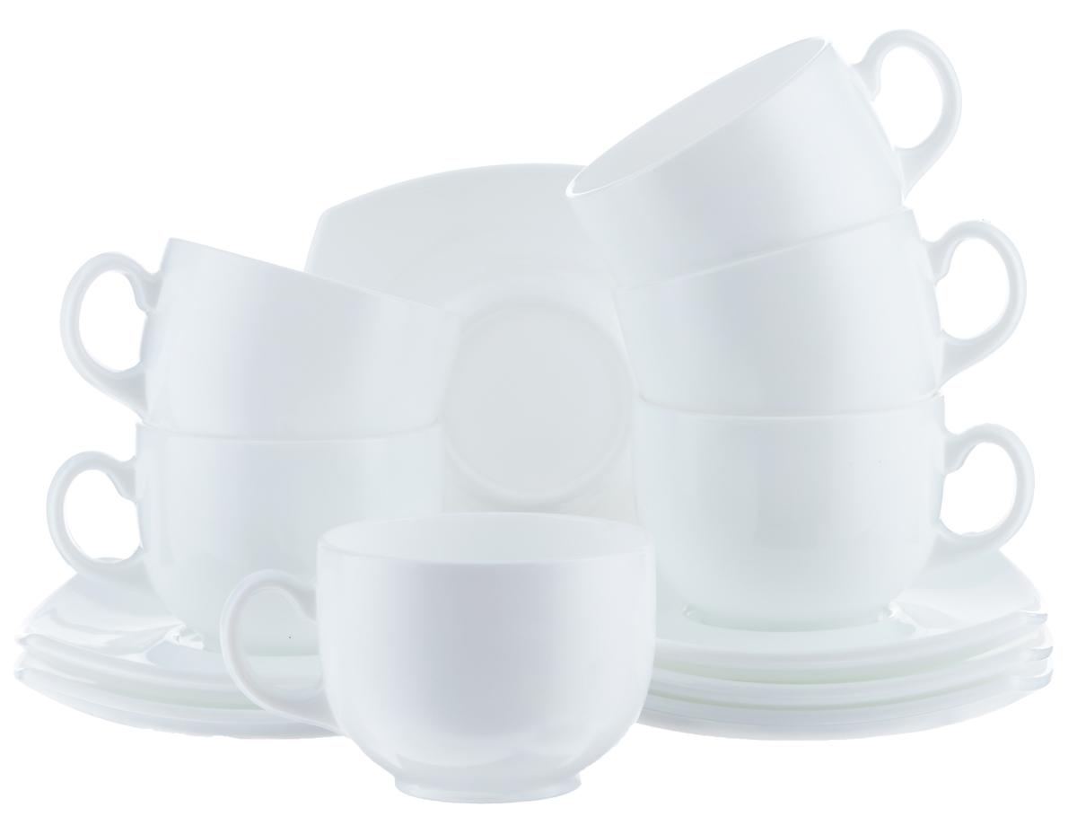 """Чайный набор Luminarc """"Quadrato"""" состоит из шести чашек и шести блюдец. Предметы набора изготовлены из  высококачественного стекла.  Чайный набор яркого и в тоже время лаконичного дизайна украсит интерьер кухни и сделает ежедневное  чаепитие настоящим праздником. Объем чашек: 220 мл. Диаметр чашек по верхнему краю: 8,3 см. Высота чашек: 6 см. Размер блюдец: 13,5 см х 13,5 см."""