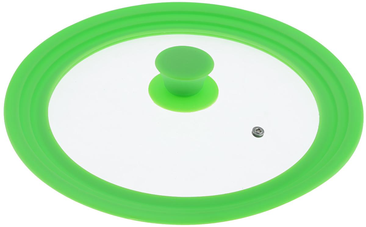Крышка универсальная Miolla, цвет: зеленый, для сковород и кастрюль диаметром 24, 26, 28 см1015029UКрышка Miolla подходит в качестве универсальной крышки к сковородам и кастрюлям диаметром 24, 26, 28 см. Изготовлена из огнеупорного стекла с высококачественным силиконовым ободом. Имеет одно отверстие для выхода пара. Ручка не нагревается.Можно мыть в посудомоечной машине.Невероятно красивые, стильные и функциональные товары бренда Miolla помогут создать дома атмосферу уюта. Современные, продуманные решения для уборки ваших квартир - всё, о чем мечтает каждая хозяйка!