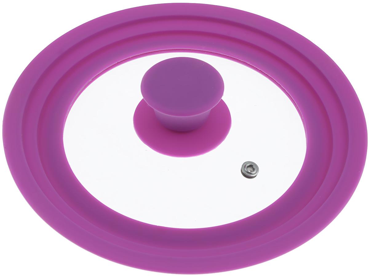 Крышка универсальная Miolla, цвет: фиолетовый, для сковород и кастрюль диаметром 16, 18, 20 см1015021UКрышка Miolla подходит в качестве универсальной крышки к сковородам и кастрюлям диаметром 16, 18, 20 см. Изготовлена из огнеупорного стекла с высококачественным силиконовым ободом. Имеет одно отверстие для выхода пара. Ручка не нагревается.Можно мыть в посудомоечной машине.Невероятно красивые, стильные и функциональные товары бренда Miolla помогут создать дома атмосферу уюта. Современные, продуманные решения для уборки ваших квартир - всё, о чем мечтает каждая хозяйка!