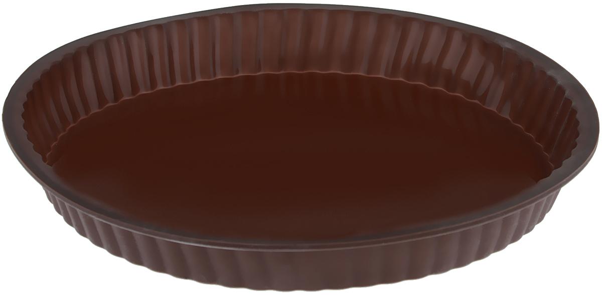 Форма для выпечки Taller, цвет: коричневый, диаметр 26 смTR-6203_коричневыйКруглая форма для выпечки Taller изготовлена из силикона - материала, который выдерживает температуру от -20°С до +220°С. Изделия из силикона очень удобны в использовании: пища в них не пригорает и не прилипает к стенкам, форма легко моется. Приготовленное блюдо можно очень просто вытащить, просто перевернув форму, при этом внешний вид блюда не нарушится. Изделие обладает эластичными свойствами: складывается без изломов, восстанавливает свою первоначальную форму. Порадуйте своих родных и близких любимой выпечкой в необычном исполнении. Подходит для приготовления в микроволновой печи и духовом шкафу при нагревании до +220°С; для замораживания до -20°С и чистки в посудомоечной машине. Диаметр формы (по внутреннему краю): 24 см.Высота стенок: 3 см.