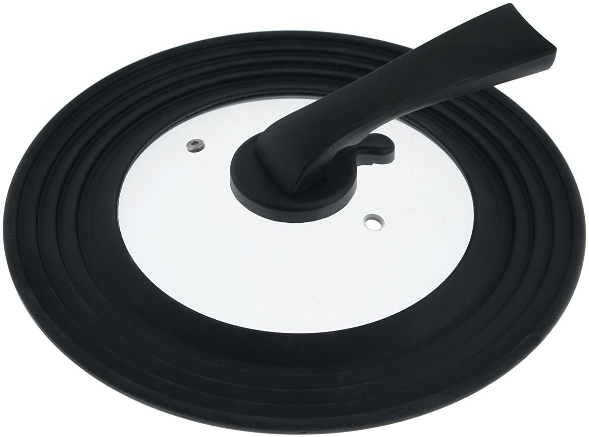 Крышка универсальная Miolla, цвет: черный, для сковород и кастрюль диаметром 22, 24, 26, 28 см1015034UКрышка Miolla подходит в качестве универсальной крышки к сковородам и кастрюлям диаметром 22, 24, 26, 28 см. Изготовлена из огнеупорного стекла с высококачественным силиконовым ободом. Имеет одно отверстие для выхода пара. Ручка не нагревается.Можно мыть в посудомоечной машине.Невероятно красивые, стильные и функциональные товары бренда Miolla помогут создать дома атмосферу уюта. Современные, продуманные решения для уборки ваших квартир - всё, о чем мечтает каждая хозяйка!