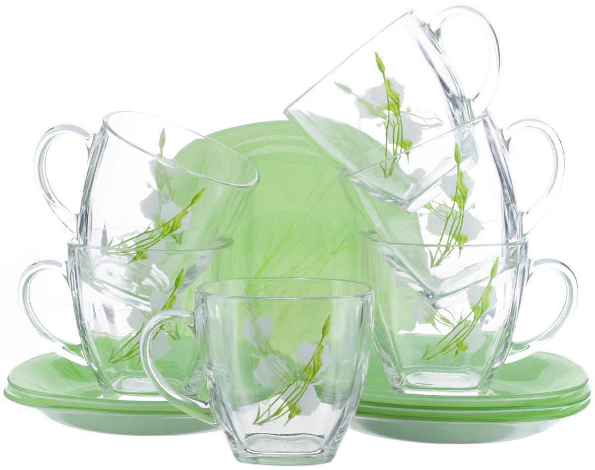 Набор чайный Luminarc Sofiane Green, 12 предметовJ7939Чайный набор Luminarc Sofiane Green состоит из 6 чашек и 6 блюдец. Изделия выполнены из высококачественного ударопрочного стекла, украшены красивым цветочным узором. Посуда отличается прочностью, гигиеничностью и долгим сроком службы, она устойчива к появлению царапин и резким перепадам температур. Такой набор прекрасно подойдет как для повседневного использования, так и для праздников или особенных случаев. Чайный набор Luminarc - это не только яркий и полезный подарок для родных и близких, это также великолепное дизайнерское решение для вашей кухни или столовой. Изделия можно мыть в посудомоечной машине и использовать в СВЧ-печи. Объем чашки: 220 мл. Размер чашки: 7,5 см х 7,5 см х 7,5 см. Размер блюдца: 13,5 см х 13,5 см.
