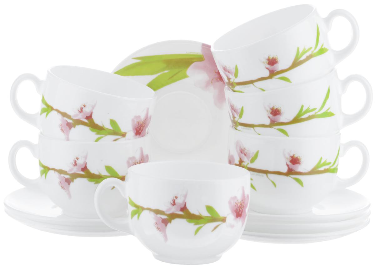 """Чайный набор Luminarc """"Water Color"""" состоит из 6 чашек и 6 блюдец. Изделия выполнены из высококачественного ударопрочного стекла, имеют яркий дизайн с красивым цветочным рисунком и классическую форму. Посуда отличается прочностью, гигиеничностью и долгим сроком службы, она устойчива к появлению царапин и резким перепадам температур.  Такой набор прекрасно подойдет как для повседневного использования, так и для праздников или особенных случаев.  Чайный набор """"Luminarc"""" - это не только яркий и полезный подарок для родных и близких, это также великолепное дизайнерское решение для вашей кухни или столовой.  Изделия можно мыть в посудомоечной машине и использовать в СВЧ-печи.  Объем чашки: 220 мл.  Диаметр чашки (по верхнему краю): 8 см.  Высота чашки: 6 см.  Диаметр блюдца: 14 см."""