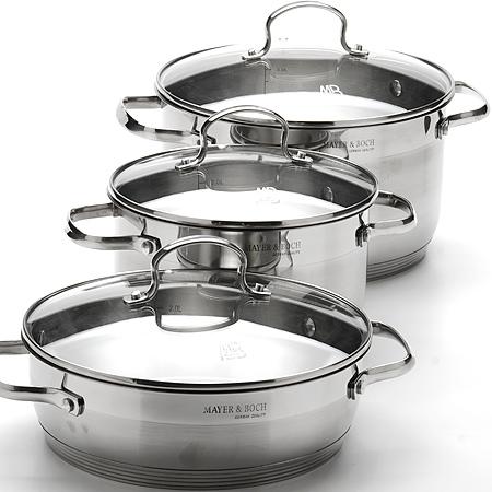 20859 Набор посуды(6 пр) мет/нерж(6,3+3,6+3,4 (х2)06275BH/2Набор кухонной посуды 6 пр: Кастрюля(2шт)+сковорода без АП+ стеклянная крышка(3шт)материал:высококачественная,нержавеющая сталь (CrNi 18/10), удобные металлические ручки, усиленное капсульное дно, матовая внешняя поверхность. Размер:D24х14 см(6,3л), D20х11,5 см(3,6л), сковородаD24х7,5 см.(3,4л) Размер упаковки:29х27х32 см. Вес коробки:11,94 кг. Размер коробки:58х30,5х33* см.
