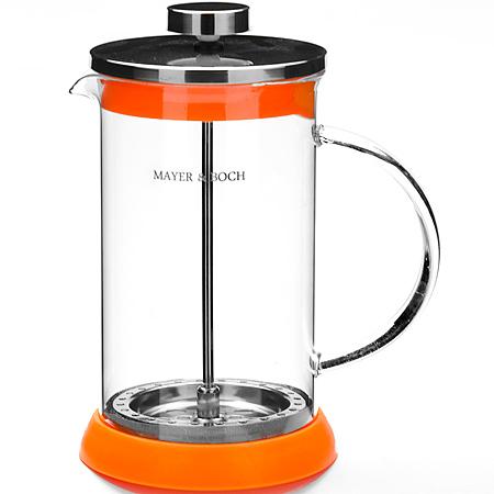21250 Заварник Френч-Пресс 600 мл МВ (х24)21250Заварочный чайник френч-пресс (0,6 л)Материал: нержавеющая сталь, термостойкое стекло, силикон Цвет:красный,оранжевый, зеленый, фиолетовый Размер упаковки:13х11х19 см Объем: 600 мл Вес: 470 гФренч-пресс изготовлен из высокотехнологичных материалов на современном оборудовании: - корпус изготовлен из высококачественного жаропрочного стекла, устойчивого к окрашиванию, царапинам и термошоку; - фильтр-поршень из нержавеющей стали выполнен по технологии press-up для обеспечения равномерной циркуляции воды; - яркая подставка из инертного силикона препятствует скольжению френч-пресса.Френч-пресс MAYER&BOCH позволит быстро и просто приготовить свежий и ароматный кофе или чай. Практичный и стильный дизайн полностью соответствует последним модным тенденциям в создании предметов бытовой техники.