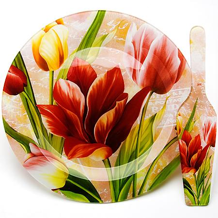 Блюдо для торта Loraine, с лопаткой, диаметр 30 см23902Блюдо для торта Loraine с лопаткой выполнены из стекла и декорированы ярким рисунком тюльпанов. Изящный дизайн и красочность оформления придутся по вкусу и ценителям классики, и тем, кто предпочитает утонченность и изысканность.