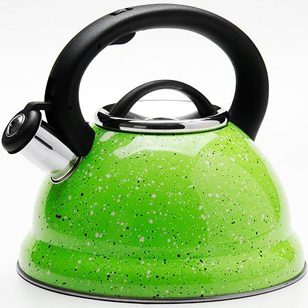 24971 Чайник метал. 2,8л Мраморная Крошка MB (х12)24971Чайник металлический со свистком (2,8 л)Материал: нержавеющая сталь, бакелит, индукционное дно, термостойкое покрытиеЦвет:зеленыйРазмер коробки: 22,8 х 22,5 х 21 смОбъем: 2,8 лВес: 780 гКорпус чайника выполнен из высококачественной нержавеющей стали, что обеспечивает долговечность использования. Корпус с зеркальной поверхностью. Фиксированная ручка из бакелита снабжена клавишей для открывания носика, что делает использование чайника очень удобным и безопасным. Носик снабжен свистком, что позволит вам контролировать процесс подогрева или кипячения воды. Капсулированное дно с прослойкой из алюминия обеспечивает наилучшее распределение тепла. Эстетичный и функциональный, с эксклюзивным дизайном, чайник будет оригинально смотреться в любом интерьере. Также изделие можно мыть в посудомоечной машине.