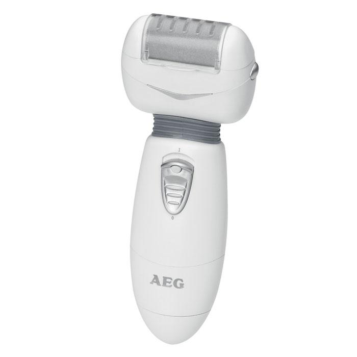 AEG PHE 5670, White Grey электропемзаPHE 5670 weis-grauAEG PHE 5670 - это настоящая находка для тех, кто желает получить отличный результат, затратив при этом минимум средств и времени. Данная модель обеспечивает быстрое и безопасное удаление мозолей и натоптышей. Для этого вам даже не придется предварительно распаривать кожу ног. После использования этого прибора ваши ноги будут выглядеть так, как будто вы только что посетили профессиональный салон красоты. В комплекте к электропемзе идут два сменных ролика разной степени шероховатости и щеточка для чистки. Прибор работает от двух батареек 1,5 В типа UM3/AA/LR6 (не входят в комплект поставки). Он легко разбирается для мытья и чистки. Электропемза имеет защиту от брызг стандарта IPX4.Эргономичная ручкаСкорость вращения: 45 об/сек