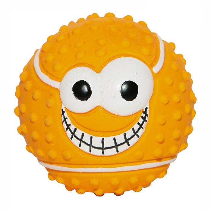 Игрушка для собак Ziver Мяч. Веселый теннис, с пищалкой, цвет: оранжевый, диаметр 7,5 см игрушка для собак ziver осел длинноухий с пищалкой цвет голубой 18 см