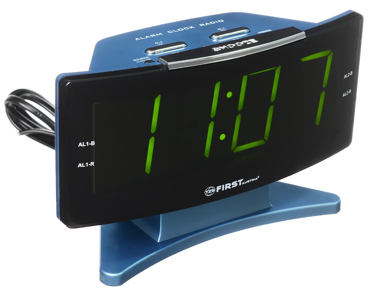 First FA-2416, Blue радиочасыFA-2416 BlueFirst FA-2416 - радиочасы с LED-дисплеем диагональю 1,8 дюйма. Устройство имеет кварцевый стабилизатор, а также различные дополнительные функции: подъем под музыку или звонок, засыпание под музыку, двойной будильник, а также сохранение радиостанций в памяти. Вы также можете активировать отложенный сигнал чтобы поспать еще немного времени. Будильник отключится и прозвенит через 9 минут.Фазовая автоподстройка частотыРезервное питание: 2 батарейки UM4 (в комплект не входят)
