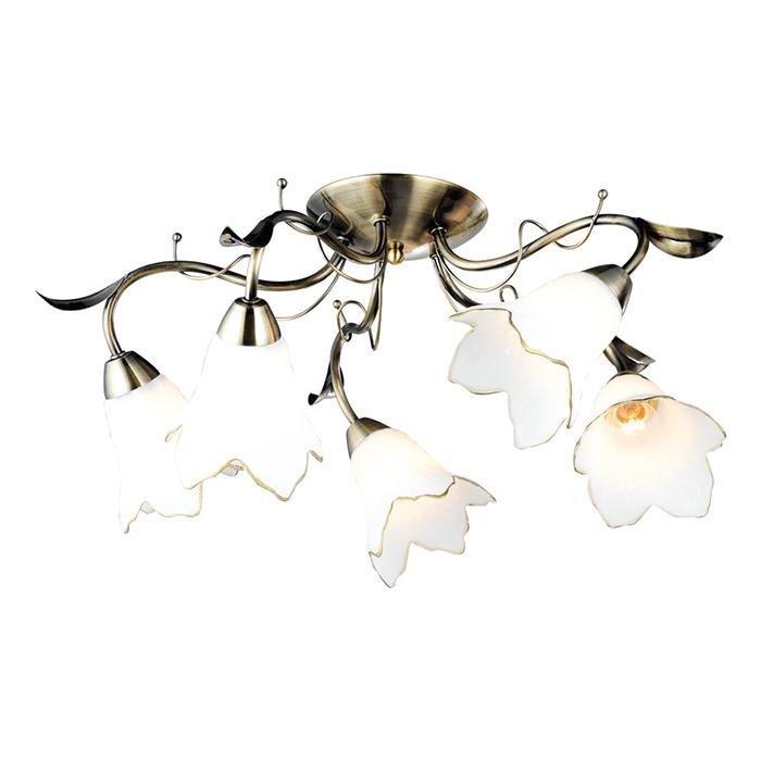 Светильник потолочный Arte Lamp Barbara. A6066PL-5ABA6066PL-5ABПотолочный светильник Arte Lamp Barbara поможет создать в вашем доме атмосферу уюта икомфорта. Благодаря высококачественным материалам он практичен в использовании и отличноработает на протяжении долгого периода времени.Изящная люстра с пятью плафонами в виде белых цветков с золотистыми ободками. Плафонынаправлены лампами вниз и в стороны.Диаметр люстры: 61 см.Лампы: Е27; 5x60 W.