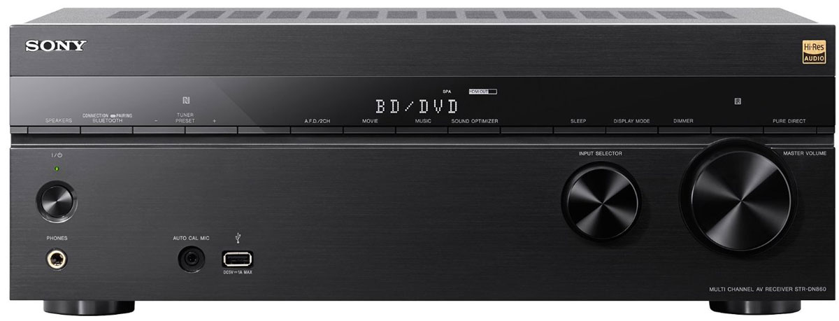 Sony STR-DN860 AV-ресивер для домашнего кинотеатраSTRDN860.CEL7.2-канальный AV-ресивер Sony STR-DN860 предназначен для домашнего кинотеатра с мультирум-системой. Перейдите на новый уровень домашних развлечений! Вы можете быть полностью увлечены просмотромголливудского блокбастера или захвачены прослушиванием любимой музыки в невероятном качестве форматах аудио высокого разрешения — во всем вы сможете оценить мощь и качество.Ощутите себя в помещении, наполненном объемным звучанием 7 аудиоканалов и 2 сабвуферов с выходной мощностью 165 Вт RMS на канал. Превосходное качество изображение и детализация достригается благодаряподдержке 4K-видео и технологии повышения разрешения в сочетании с 6 входами и 2 выходами HDMI для подключения дополнительного аудио- и видеооборудования.Передавайте музыкальные и видеофайлы на ваш ресивер с помощью технологии NFC One-touch, по Bluetooth и Wi-Fi или подключите устройство USB для воспроизведения музыки. Поддержка ресивером Sony STR-DN860стандарта HDCP 2.2 для потоковых сервисов в 4K и возможности проводного подключения MHL 3.0 для просмотра контента в 4K со смартфона на большом экране телевизора позволяют с легкостью расширить возможностидомашних развлечений в формате 4K.Ресивер Sony STR-DN860 поддерживает воспроизведение видео в формате 4K Ultra HD, обеспечивая в четыре раза больше деталей, чем в Full HD. При подключении к телевизору 4K передовые технологии обработкивидеоданных повысят разрешение видео низкого качества почти до разрешения 4K Ultra HD. Будь то фильм и музыка, с поддержкой протокола HDCP 2.2 вы будете готовы к новому поколению контента в 4K премиум-класса с расширенной поддержкой защиты авторских прав.Подключите устройство Xperia или другой смартфон с поддержкой передовых функций прямо на фронтальной панели ресивера и дублируйте фотографии и видеоролики с экрана смартфона на телевизор в разрешении 4К,пока ваш телефон заряжается. 7.2-канальный AV-ресивер Sony STR-DN860 создает динамичное объемное звучание, а технология а