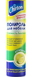 Полироль для мебели Chirton, аромат лимона, 300 мл4607178290361Полироль для мебели Chirton с ароматом лимона обеспечит превосходный уход за всей мебелью, не причиняя ей ни малейшеговреда. Прекрасно очищает от различных загрязнений и полируетповерхности, возвращая им первоначальную красоту. Неповторимый аромат наполнит дом уютом. Полироль подходит не только для деревянных, но и керамических, мраморных, эмалированных, хромированных, а также большинства пластиковых поверхностей. Характеристики: Объем: 300 мл.Производитель: Россия.Товар сертифицирован.
