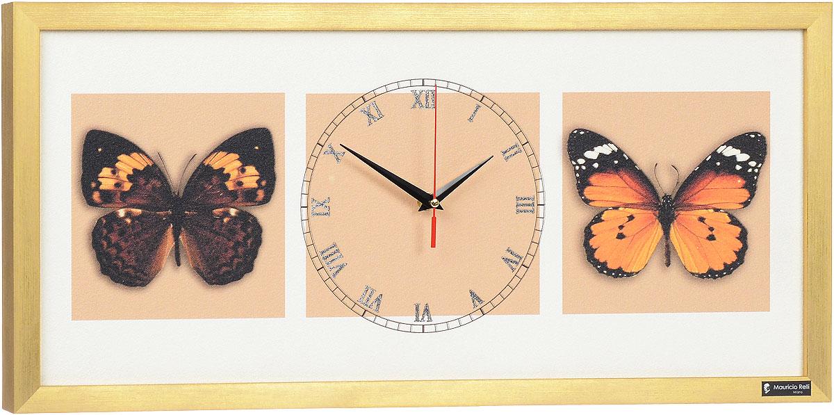"""Настенные кварцевые часы """"Farfalle nel cielo РМ-051"""", выполненные профессиональными художниками, своим эксклюзивным дизайном подчеркнут оригинальность интерьера вашего дома.  Часы прямоугольной формы оформлены фактурным изображением бабочек. Рисунок выполнен из песка вручную. Благодаря материалу исполнения, изображение получается объемным и реалистичным. Часы обрамлены рамой. Часы имеют три стрелки - часовую, минутную и секундную. На обратной стороне расположена металлическая петелька для подвешивания. Часы """"Farfalle nel cielo РМ-051"""" будут интересно смотреться как в офисе, так и в гостиной, а необычный дизайн привнесет индивидуальность в любой интерьер.  Такие часы послужат отличным подарком для ценителя практичных и оригинальных вещей. Рекомендуется докупить 1 батарейку 1,5V типа """"АА"""" (в комплект не входит)."""