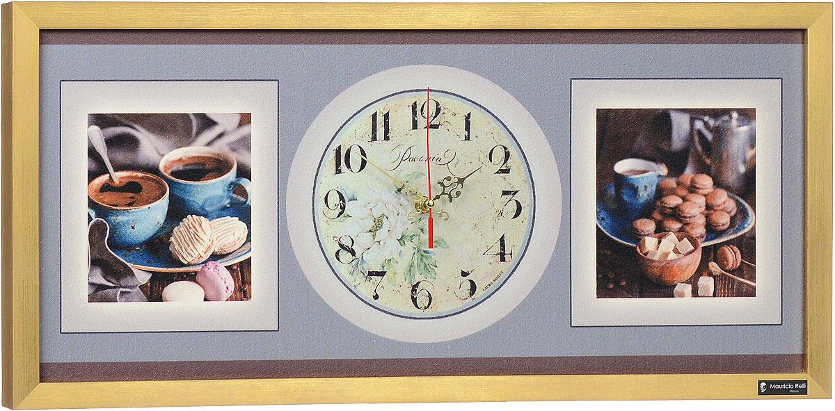 """Настенные кварцевые часы """"Provence РМ-054"""", выполненные профессиональными художниками, своим эксклюзивным дизайном подчеркнут оригинальность интерьера вашего дома.  Часы прямоугольной формы оформлены фактурным изображением аппетитных завтраков. Рисунок выполнен из песка вручную. Благодаря материалу исполнения, изображение получается объемным и реалистичным. Часы обрамлены рамой. Часы имеют три стрелки - часовую, минутную и секундную. На обратной стороне расположена металлическая петелька для подвешивания. Часы """"Provence РМ-054"""" будут интересно смотреться как в офисе, так и в гостиной, а необычный дизайн привнесет индивидуальность в любой интерьер.  Такие часы послужат отличным подарком для ценителя практичных и оригинальных вещей. Рекомендуется докупить 1 батарейку 1,5V типа """"АА"""" (в комплект не входит)."""