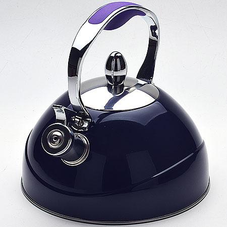 Чайник Mayer & Boch, со свистком, цвет: синий, 2,6 л22416Чайник со свистком Mayer & Boch изготовлен из высококачественной нержавеющей стали. Капсульное дно обеспечивает равномерный и быстрый нагрев, поэтому вода закипает гораздо быстрее, чем в обычных чайниках. Носик чайника оснащен откидным свистком, звуковой сигнал которого подскажет, когда закипит вода. Металлическая ручка имеет силиконовую вставку, которая убережет ваши руки от ожогов.Чайник Mayer & Boch - качественное исполнение и стильное решение для вашей кухни. Подходит для всех типов плит, включая индукционные. Можно мыть в посудомоечной машине.