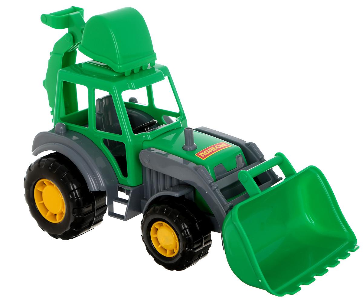Полесье Трактор-экскаватор Мастер цвет зеленый машинки tomy трактор с большими колесами с подсветкой и звуком