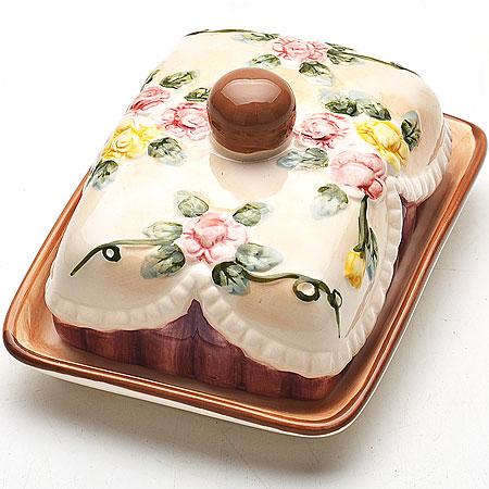 Масленка Mayer & Boch Розы. 2243422434Масленка Mayer & Boch Розы, выполненная из доломита в виде подноса с крышкой, станет незаменимым помощником на вашей кухне. Изделие оформлено объемным изображением цветов и имеет изысканный внешний вид. Масленка предназначена для красивой сервировки стола и хранения масла.