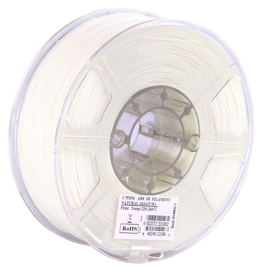 ESUN ABS-пластик в катушке, White (ABS175N1)ABS175N1Пластик ABS от ESUN долговечный и очень прочный полимер, ударопрочный, эластичный и стойкий к моющим средствам и щелочам. Один из лучших материалов для печати на 3D принтере. Пластик ABS не имеет запаха и не является токсичным. Температура плавления220-260°C. ABS пластик для 3D-принтера применяется в деталях автомобилей, канцелярских изделиях, корпусах бытовой техники, мебели, сантехники, а также в производстве игрушек, сувениров, спортивного инвентаря, деталей оружия, медицинского оборудования и прочего.Диаметр пластиковой нити: 1.75 мм