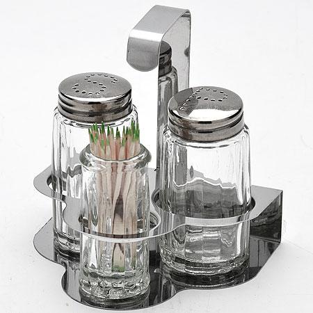 Набор для специй Mayer & Boch, на подставке, 4 предмета2529Набор для специй Mayer & Boch состоит из солонки, перечницы, баночки для зубочисток и подставки. Емкости выполнены из прозрачного ударопрочного стекла и снабжены стальными крышками. Для хранения емкостей предусмотрена металлическая подставка. Такой набор поможет хранить под рукой самые часто используемые специи.