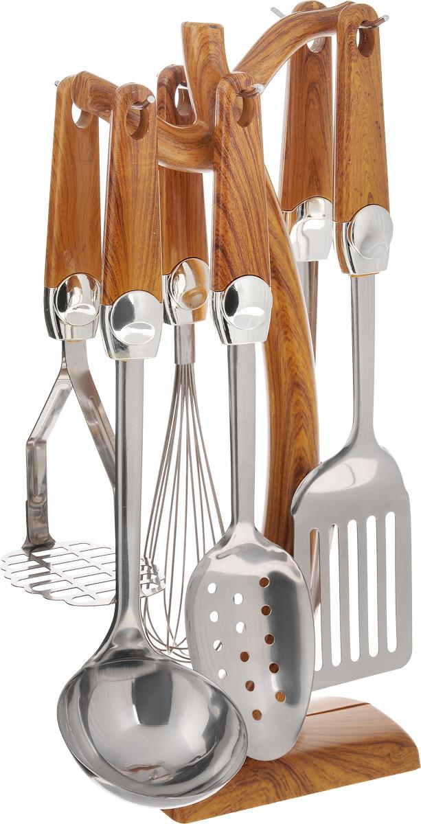 """Набор кухонных принадлежностей """"Mayer & Boch"""" состоит из картофелемялки, венчика, шумовки, вилки для мяса, половника, лопатки и подставки. Предметы набора  выполнены из высококачественной нержавеющей стали. Ручки, изготовленные  из пластика и декорированные под дерево, обеспечивают удобный хват и защищают от  перегрева. Набор """"Mayer & Boch"""" придаст вашей кухне элегантность,  подчеркнет индивидуальный дизайн и превратит приготовление еды в  настоящее удовольствие. Этот профессиональный набор очень удобен в  использовании и имеет стильную пластиковую подставку, которая позволяет хранить  приборы в одном месте. Размер подставки: 16 х 10 х 38 см. Длина половника: 32 см. Размер рабочей части половника: 9 х 9 см. Длина картофелемялки: 24,5 см. Размер рабочей части картофелемялки: 9 х 8 см. Длина венчика: 31 см. Размер рабочей части венчика: 5,5 х 5,5 х 15 см. Длина шумовки: 32 см. Размер рабочей части шумовки: 10,5 х 7 см. Длина вилки для мяса: 33 см. Длина зубьев вилки для мяса: 8 см. Длина лопатки: 33,5 см. Размер рабочей части лопатки: 12,5 х 8 см."""