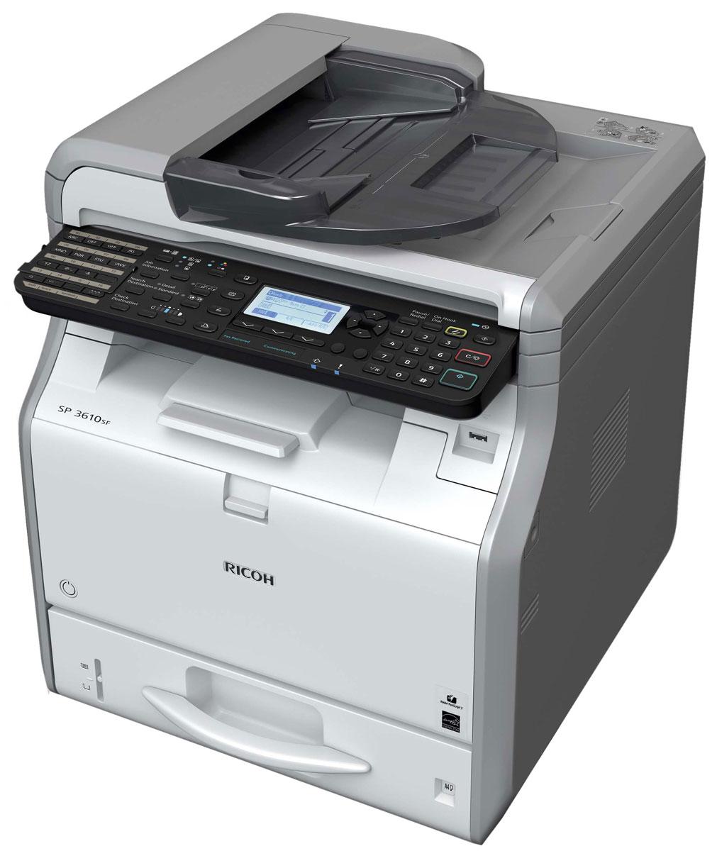 Ricoh SP 3610SF МФУ906386МФУ Ricoh SP 3610SF идеально в том, что касается экономичной черно-белой печати, копирования, сканирования и отправки факсов. Привлекательная цена и низкая совокупная стоимость владения делает эту модель разумным долгосрочным капиталовложением.Новый контроллер Ricoh, обеспечивающий непревзойденную скорость работы, повысит производительность вашего офиса. Компактный размер позволяет разместить МФУ прямо на рабочем столе, а фронтальный доступ к устройствам облегчает их обслуживание. SP 3600SF/SP 3610SF помогут вам повысить продуктивность работы без ущерба для окружающей среды.Среды Windows: Windows XP, Windows Vista, Windows 7, Windows 8, Windows 8.1, Windows Server 2003, Windows Server 2003R2, Windows Server 2008, Windows Server 2008R2, Windows Server 2012, Windows Server 2012R2Среды Mac OS: Macintosh OS X Native v10.6 или более поздняя версияВремя прогрева: 14 секундОперативная память: 512 МБСканирование лазерным лучом и электрографическая печатьМасштабирование: От 25% до 400% с шагом 1%