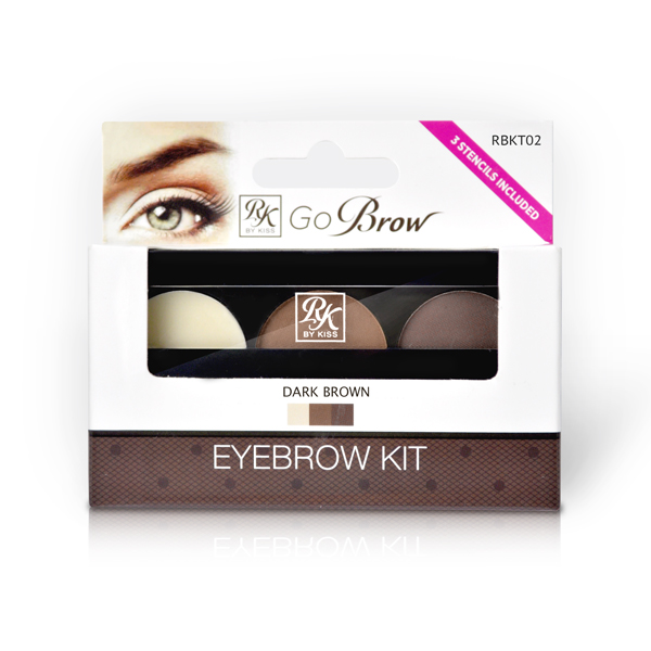 Kiss Набор для моделирования бровей Go Brow Dark Brown Brow Kit Go Brow RBKT02 kiss kiss тушь для бровей black dark brown eyebrow mascara rbm01