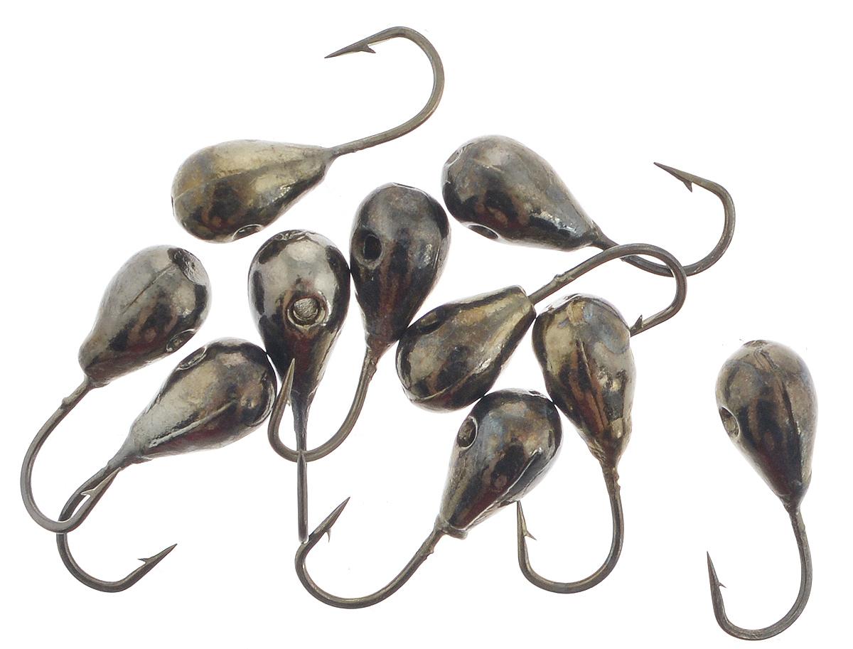 Мормышка вольфрамовая Dixxon-Russia, капля с отверстием, цвет: черный никель, диаметр 4 мм, 0,82 г, 10 шт