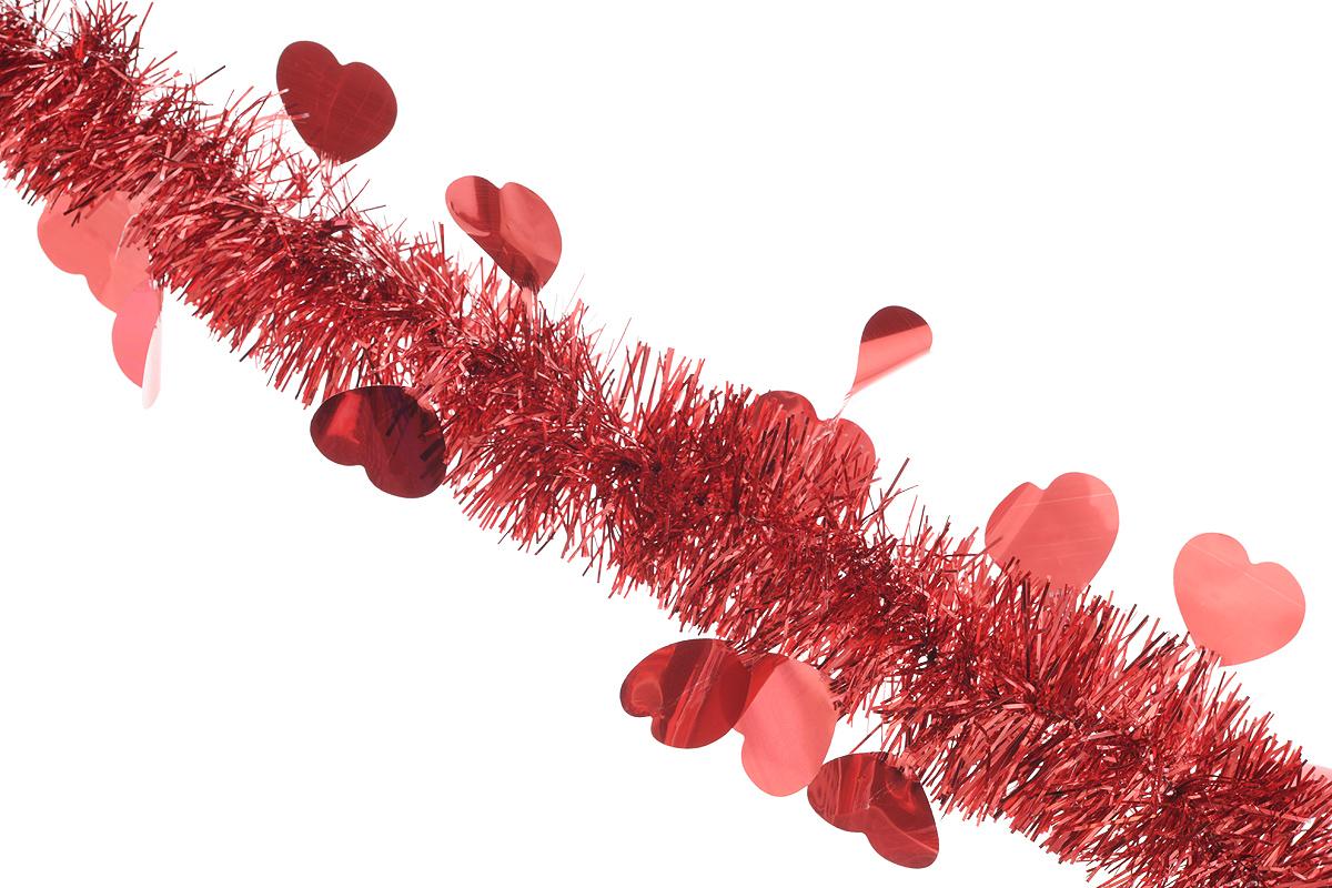 Мишура новогодняя Sima-land, цвет: красный, диаметр 5 см, длина 200 см. 702611702611_красныйНовогодняя мишура Sima-land, выполненная из фольги с дизайном в виде сердечек, поможет вам украсить свой дом к предстоящим праздникам. А новогодняя елка с таким украшением станет еще наряднее. Мишура армирована, то есть имеет проволоку внутри и способна сохранять приданную ей форму. Новогодней мишурой можно украсить все, что угодно - елку, квартиру, дачу, офис - как внутри, так и снаружи. Можно сложить новогодние поздравления, буквы и цифры, мишурой можно украсить и дополнить гирлянды, можно выделить дверные колонны, оплести дверные проемы. Коллекция декоративных украшений из серии Зимнее волшебство принесет в ваш дом ни с чем несравнимое ощущение праздника! Создайте в своем доме атмосферу тепла, веселья и радости, украшая его всей семьей.