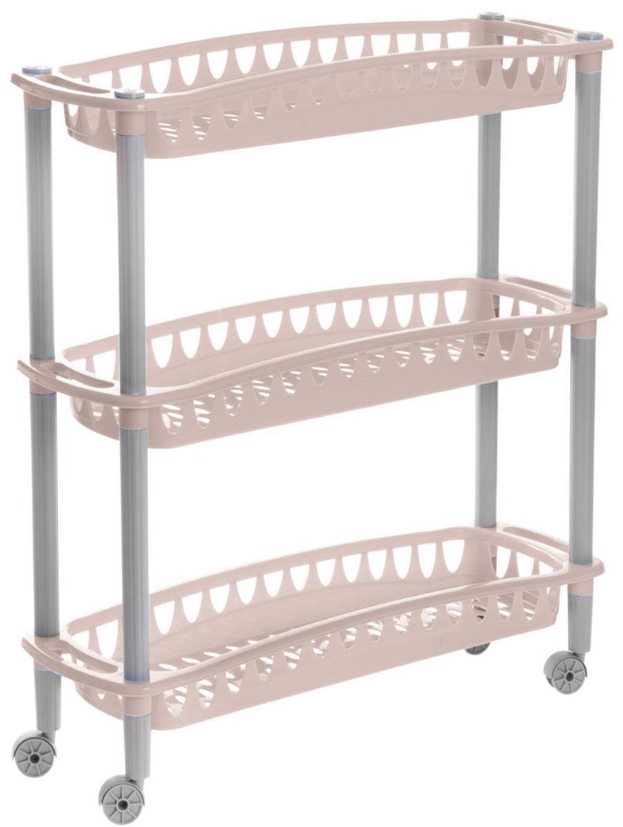 Этажерка Бытпласт Джулия, 3-ярусная, на колесиках, цвет: светло-розовый, 59 х 18 х 61 см157790Узкая этажерка Бытпласт Джулия выполнена из высококачественного пластика. Содержит 3 корзины с перфорированным дном и стенками. Этажерка подходит для хранения различных фруктов и овощей на кухне или различных принадлежностей в ванной комнате. Благодаря колесикам ее можно перемещать в любую сторону без особых усилий.Очень удобная и компактная, но в тоже время вместительная, такая этажерка прекрасно впишется в интерьер любой кухни или ванной комнаты. Она поможет легко организовать пространство. Легко собирается и разбирается.Размер этажерки (ДхШхВ): 59 см х 18 см х 61 см.Размер корзинки (ДхШхВ): 59 см х 18 см х 6,5 см.
