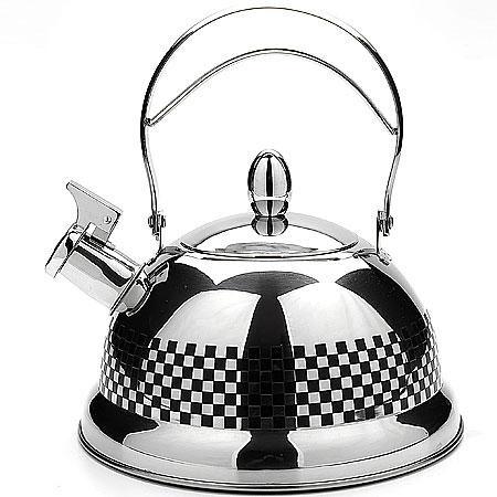 Чайник со свистком 3,1л Mayer&Boch арт. 40184018Чайник металлический со свистком (3,1 л)Материал: нержавеющая сталь, индукционное дно Размер упаковки: 23х15,5х23 см Объем: 3,1 л Вес:Чайники со свистком Mayer&Boch любят плиту,именно на ней они с особым усердием подогревают вам чай или кипятят воду. Металические чайники прочны,красивы и прослужат Вам много лет. Нержавеющая сталь не окисляется и не впитывает запахи, напитки всегда будут ароматны и меть настоящий вкус. Корпус с зеркальной поверхностью. Фиксированная ручка делает использование чайника очень удобным и безопасным. Носик снабжен свистком, что позволит вам контролировать процесс подогрева или кипячения воды. Капсулированное дно с прослойкой из алюминия обеспечивает наилучшее распределение тепла. Эстетичный и функциональный, с эксклюзивным дизайном, чайник будет оригинально смотреться в любом интерьере. Также изделие можно мыть в посудомоечной машине.