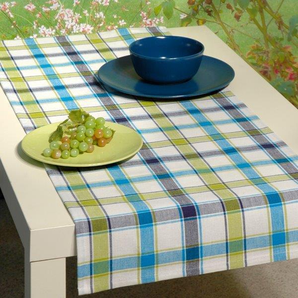 Дорожка для декорирования стола Schaefer, цвет: белый, голубой, 40 х 100 см. 07107-202