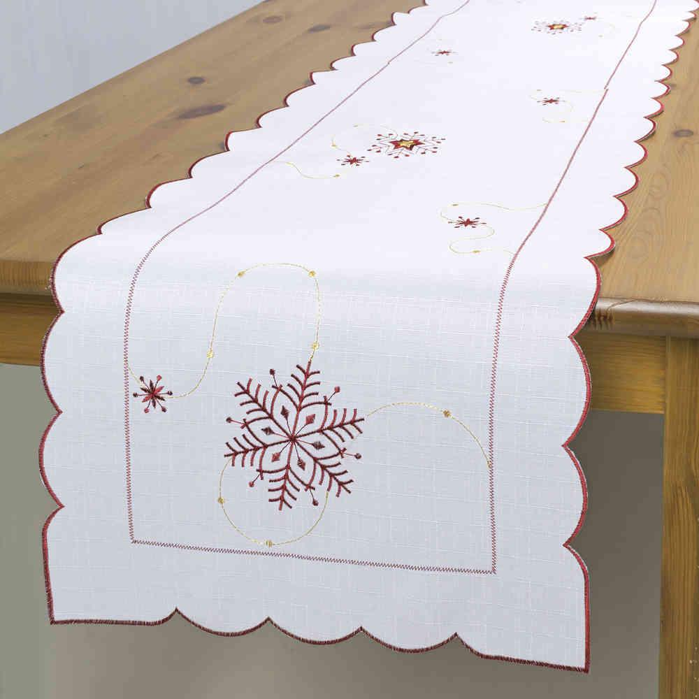 """Дорожка """"Schaefer"""", выполненная из полиэстера, станет изысканным украшением интерьера в преддверии Нового года. Изделие декорировано красиво обработанным волнистым краем и вышивкой в виде снежинок. Такую дорожку можно использовать для украшения комодов, тумб и столов.  За текстилем из полиэстера очень легко ухаживать: он легко стирается, не мнется, не садится и быстро сохнет, более долговечен, чем текстиль из натуральных волокон. Такая дорожка изящно дополнит интерьер вашего дома."""
