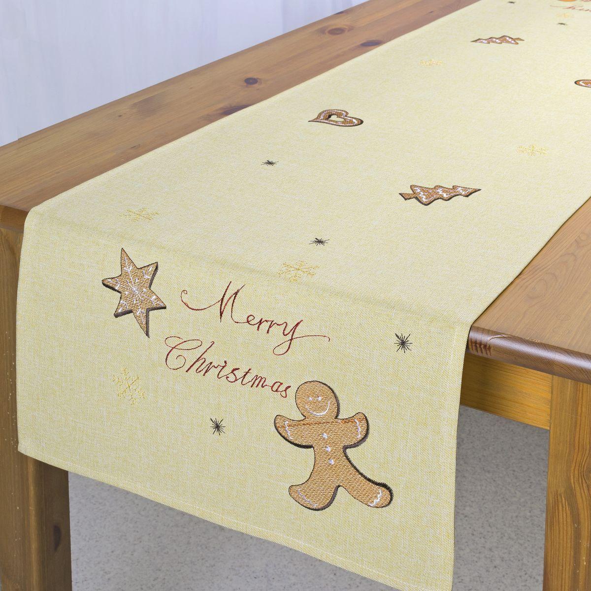 Дорожка для декорирования стола Schaefer, цвет: бежевый, красный, 40 х 140 см 07674-211
