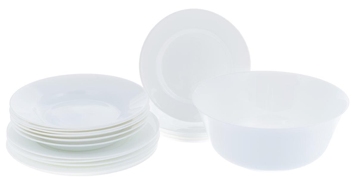 """Набор Luminarc """"Everyday"""" состоит из 6 суповых тарелок, 6 обеденных  тарелок, 6 десертных тарелок и салатника. Изделия выполнены из  ударопрочного стекла, имеют яркий дизайн и классическую круглую форму. Посуда отличается  прочностью, гигиеничностью и долгим сроком службы, она устойчива к появлению царапин и  резким перепадам температур.  Такой набор прекрасно подойдет как для повседневного использования, так и  для праздников.  Набор столовой посуды Luminarc """"Everyday"""" - это не только яркий и  полезный подарок для родных и близких, а также великолепное дизайнерское  решение для вашей кухни или столовой.  Можно мыть в посудомоечной машине и использовать в микроволновой печи.   Диаметр суповой тарелки (по верхнему краю): 22 см.  Высота суповой тарелки: 3,3 см. Диаметр обеденной тарелки (по верхнему краю): 24 см.  Высота обеденной тарелки: 2,2 см.  Диаметр десертной тарелки (по верхнему краю): 19 см.  Высота десертной тарелки: 1,5 см.  Диаметр салатника (по верхнему краю): 24 см. Высота салатника: 10 см."""