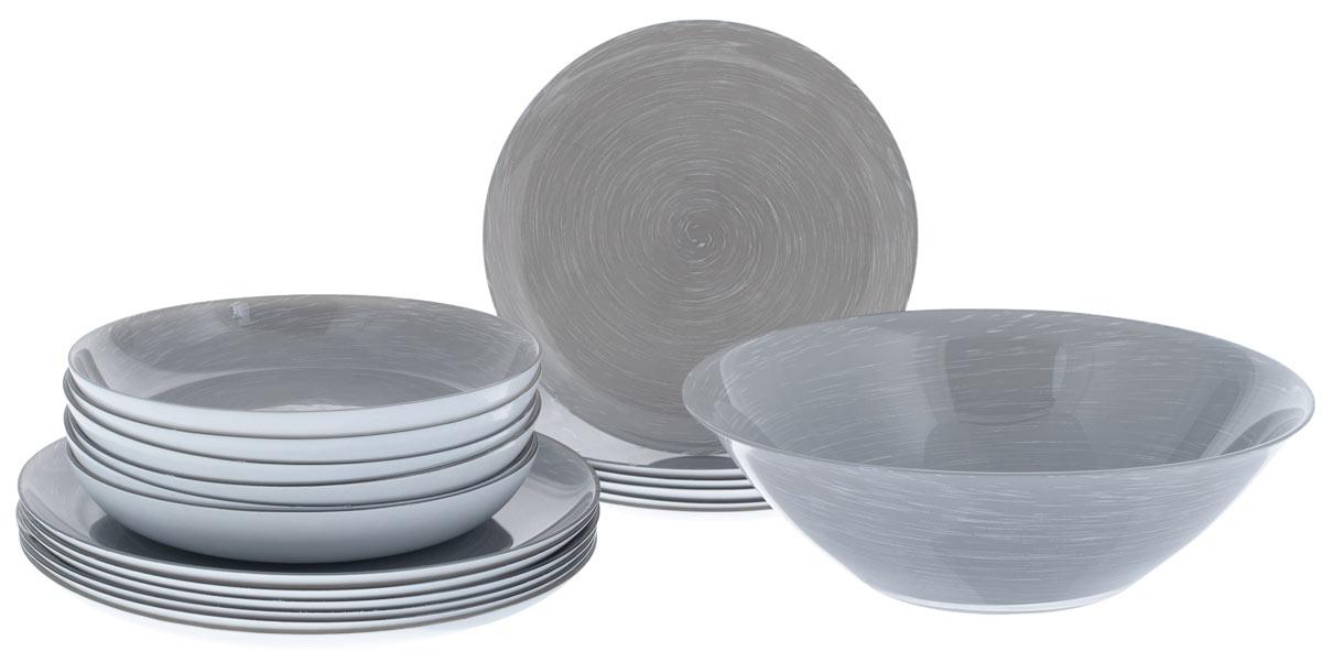Набор столовой посуды Luminarc Stonemania, 19 предметовH5717Набор Luminarc Stonemania состоит из 6 суповых тарелок, 6 обеденных тарелок, 6 десертных тарелок и глубокого салатника. Изделия выполнены из ударопрочного стекла, имеют яркий дизайн и классическую круглую форму. Посуда отличается прочностью, гигиеничностью и долгим сроком службы, она устойчива к появлению царапин и резким перепадам температур. Такой набор прекрасно подойдет как для повседневного использования, так и для праздников или особенных случаев. Набор столовой посуды Luminarc Stonemania - это не только яркий и полезный подарок для родных и близких, а также великолепное дизайнерское решение для вашей кухни или столовой. Можно мыть в посудомоечной машине и использовать в микроволновой печи. Диаметр суповой тарелки: 20 см. Высота суповой тарелки: 3,5 см.Диаметр обеденной тарелки: 25 см. Высота обеденной тарелки: 2 см. Диаметр десертной тарелки: 20 см. Высота десертной тарелки: 2 см. Диаметр салатника: 26 см. Высота стенки салатника: 8 см.