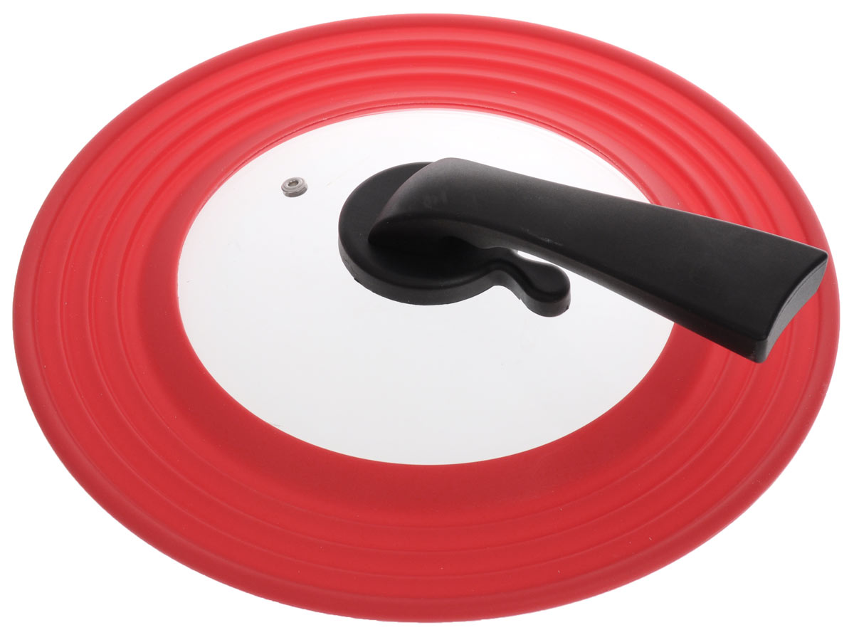 """Универсальная крышка """"Miolla"""" подходит для сковород и кастрюль диаметром 22-28 см. Она изготовлена из огнеупорного стекла с высококачественным силиконовым ободом. Изделие оснащено отверстием для вывода пара и ручкой-подставкой из термостойкого материала.  Можно мыть в посудомоечной машине. Не подходит для использования в духовке."""