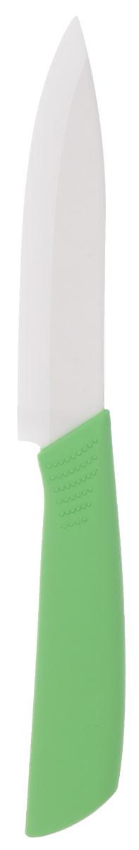 Нож универсальный Miolla, керамический, длина лезвия 10 см. 15082171508217UНож Miolla изготовлен из высококачественной керамики, лезвие которого, не требует дополнительной заточки. Эргономичная рукоятка, выполненная из высококачественного пищевого пластика, не скользит в руках и делает резку удобной и безопасной. Такой нож предназначен для нарезки твердых и мягких продуктов: овощей, фруктов, сыра, масла. Керамика - это отличная альтернатива металлу. В отличие от стальных ножей, керамические ножи не переносят ионы металла в пищу, не разрушаются от кислот овощей и фруктов и никогда не заржавеют. Этот нож будет служить вам многие годы при соблюдении простых правил. Общая длина ножа: 21 см.